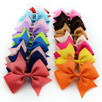 Kids solid color ribbon bow hair clips/grosgrain ribbon hair clip