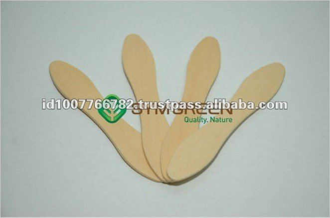 Smooth 96mm Pine Wooden Ice Cream Spoon Sticks