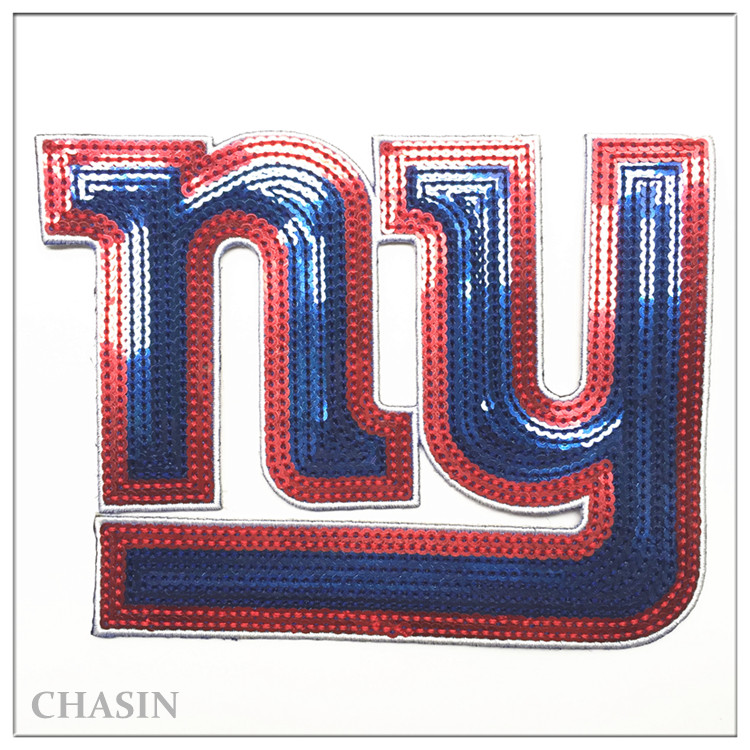 Custom sequins applique design letter embroidery sewn on patches