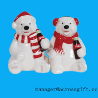 Personalized funny bears Magnetic Ceramic christmas Salt and Pepper Set