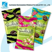 Plastic snack food pouch bag for caramel popcorn packaging