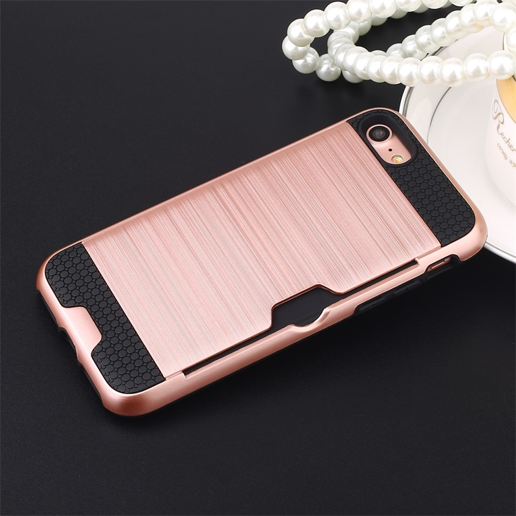 Perfectly Fit Hard PC + Soft TPU Card Slot Back Cover Case for iPhone 6