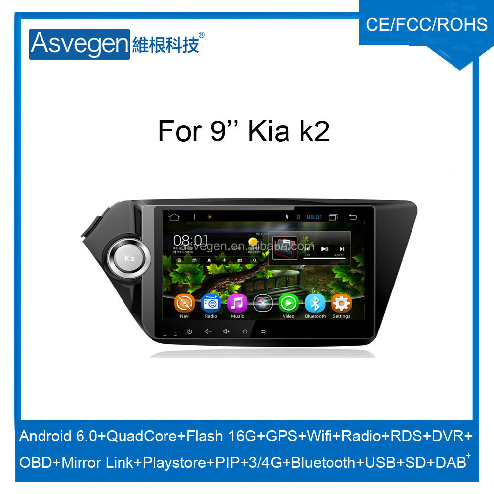 Wholesale Android Car Video Player 9inch For Kia K2 Car GPS Navigation With HD Screen,Playstore,Wifi,Mirror Link