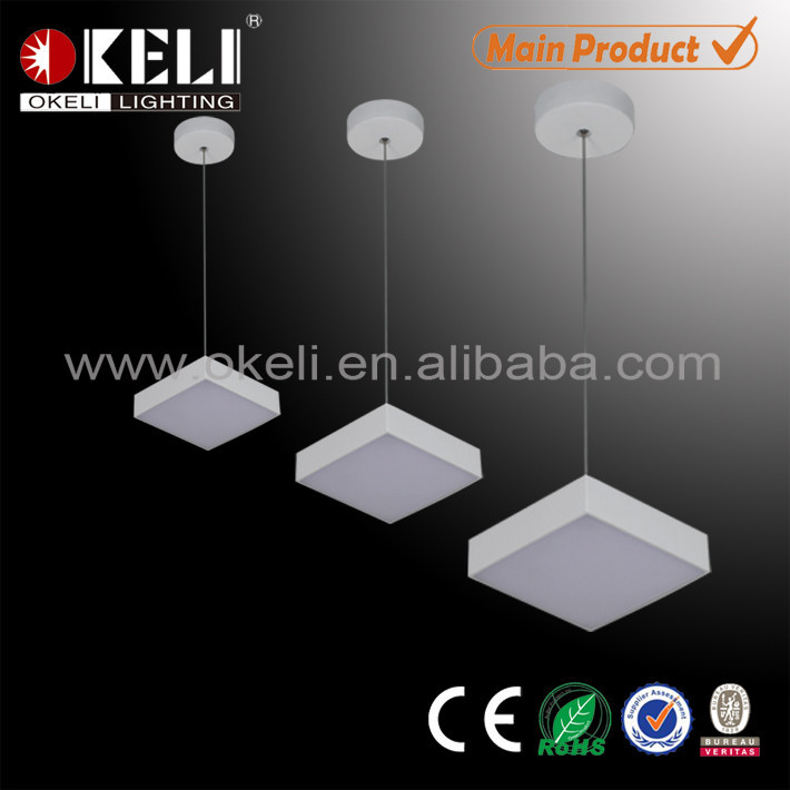 12 watt square aluminum linear led modern pendant light