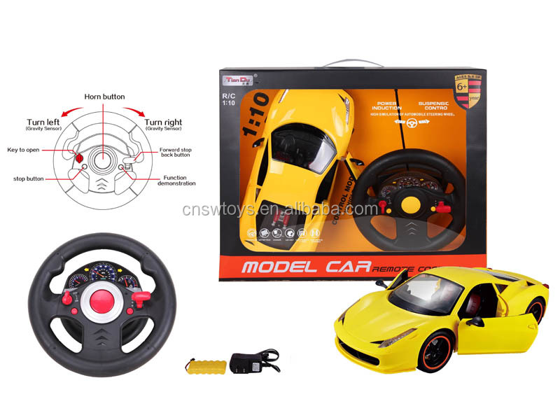 YK0809295 Promotional good quality toys car 1:10 remote control car 4 channel with light and batteries 6 functions for kids