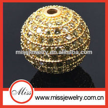 gold plated 925 silver cz pave beads sterling silver pave beads
