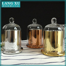 luxury glass candle jar with dome cover decoration