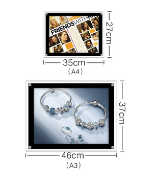 A3 menu board ultra slim acrylic crystal led light box