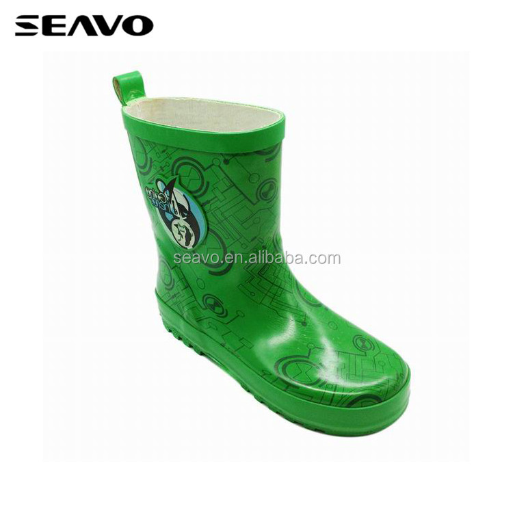SEAVO SS17 children safety low price high quality printed rubber soft unisex green fancy rain boots
