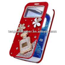 3D Bling pocket projector For Samsung Galaxy S4 , Smart Leather Flip Smart Case Cover for S4