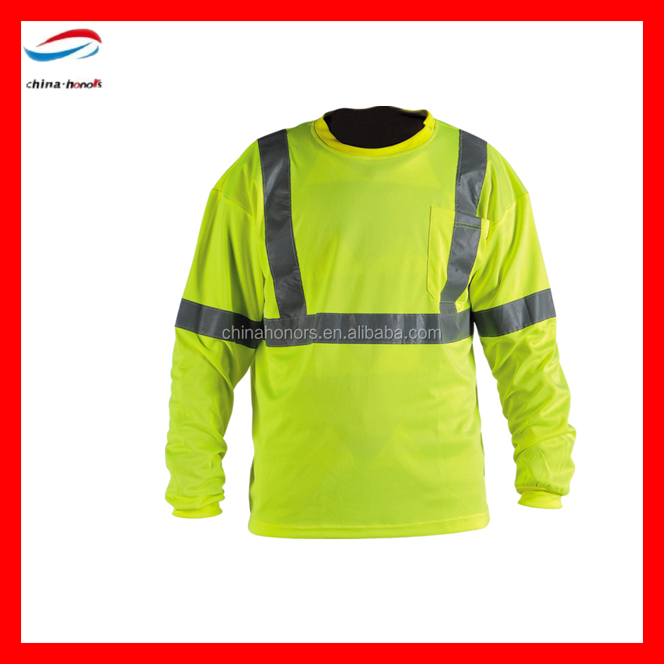 Roadway Manufacturer EN471 Class 3 Long Sleeve Fluorescent Yellow Safety Reflective Vest Construction Worker Uniforms