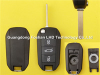 Hot Sale Replacement Flip Remote Key Blank Fobs For 3 Button PEUGEOT No Logo