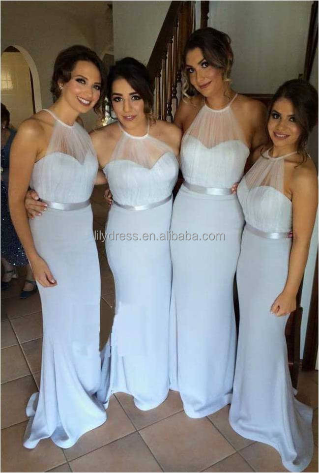 Sexy Halter Mermaid Bridesmaid Dresses 2016 Latest See Through Pleated Vestido De Festa De Casamento Free Shipping ML116