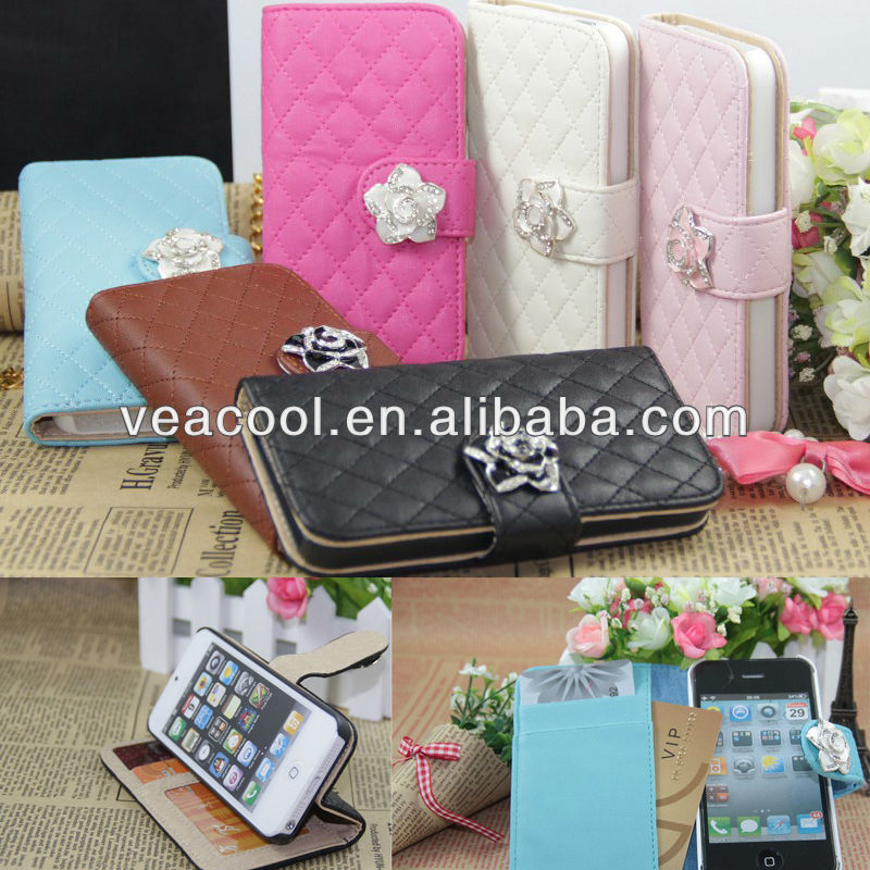 Luxury Leather Flip Wallet Stand Case Cover for Apple iphone 4 4S 4G 5 5G