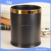 Hotel guestroom open top waste bin with PU leather cover