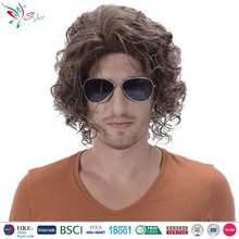 Styler Brand man short brown curly wigs carnival party wig for men