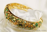 Green Crystal Golden Bangle