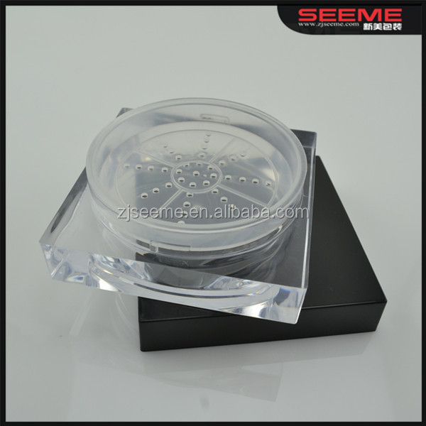 30g square loose powder cosmetic jar clear plastic jar wholesale square powder container