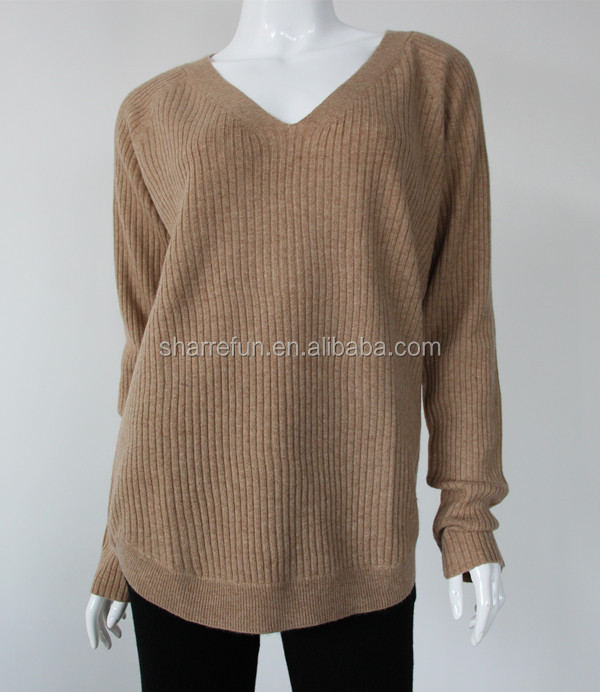 v neck 12gg rib knitted lady 100% cashmere jumper