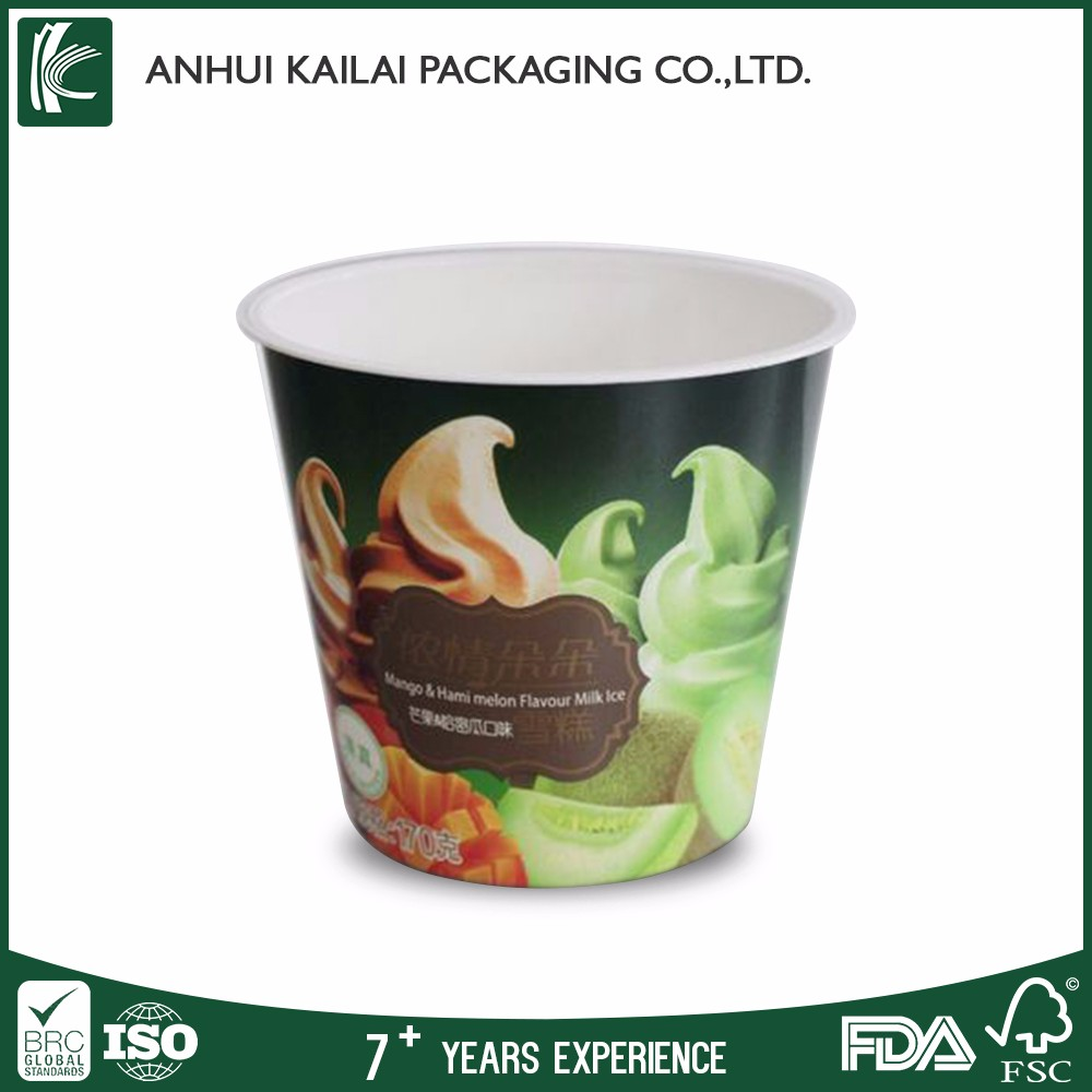 Custom logo printed disposable paper ice cream cone cup