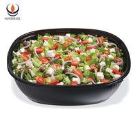 light weight disposable black plastic round microwave food container