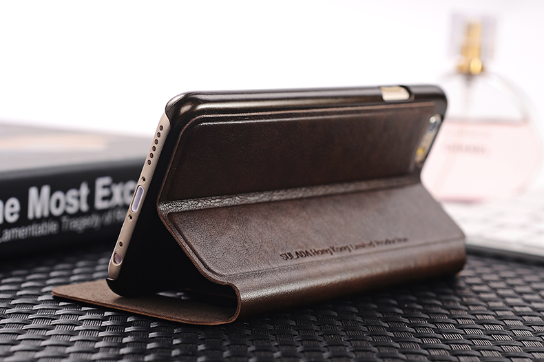 Flip Phone Leather Cover Case With Super View Window For iPhone 6