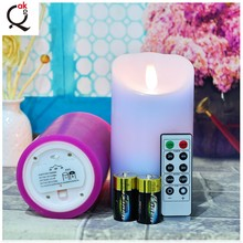 Fashion battery operated Flicker Flame Electronic Square Pillar red Real Wax LED Candle/