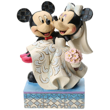 Mickey and Minnie Mouse Wedding Cake Topper Stone Resin Figurine, 6.5""