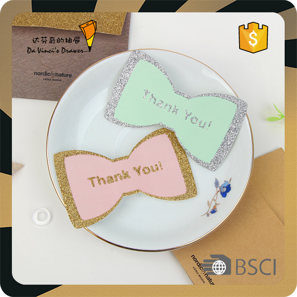 Cute Butterfly paper thank you note card with gold glitter dust