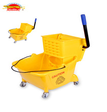 Hotselling Durable Good quality Side-press Plastic Single Mop Spin Wringer bucket with Wheels in 24L