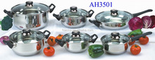 AH3501 12pcs stainless steel cookware sets with glass lid