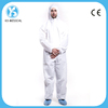 White Chemical Resistant Hooded Disposable Coveralls With Zipper Closure