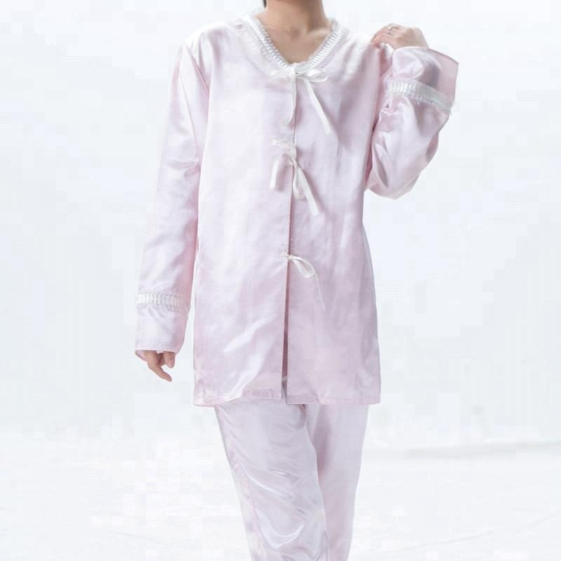 Top material girl sexy pink china silk pajamas