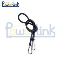 H70154 PowerLink Black D Ring Bungee Cord 8 X 600Mm Wire Rope Clip Two Carabiners (F)
