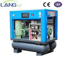 15hp 11kw Tank mounted screw air compressor with air dryer