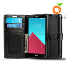 Factory Supply Unique Design Vertical Flip Magnetic Button Mobile Phone Pu Leather Case for Lg G5