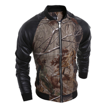 Free Shipping European Style New Model 3D Printing Patchwork Bomber Jacket Softshell Varsity PU Jacket For Mens