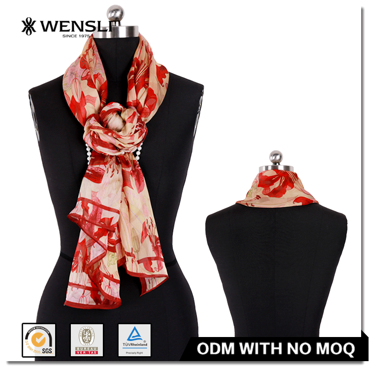 Fashionable Women Long Silk Scarf Digital Printing Brand Names Silk Scarf