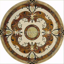 Tile round waterjet marble tiles design floor pattern for home and elevator wall and floor decor