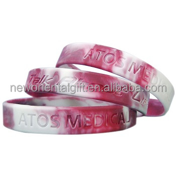 Swirl color silicone wristband , camouflage bracelet