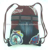 Canvas Duffle Bag- printed patch duffle bag