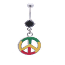 Color Drawing Paved Peace Symbols Dangle Belly Button Naval Ring.