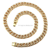 hip pop black gold filled cuban link chain for men and men's chain