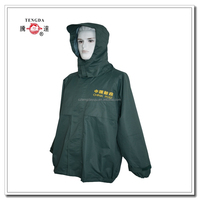 rainproof clothing factory OEM 190T polyester coated PU rain coat with pants
