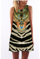 digital print vintage ethic national style Indian design mini dress MMLZ-2023