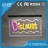 New invented electronic product 25*40cm tempered glass erasable neon led message menu sign writing board