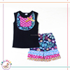2pcs sleeveless with ruffles bib and triples ruffles leaves shorts teenage karachi fashion kids clothes wholesale