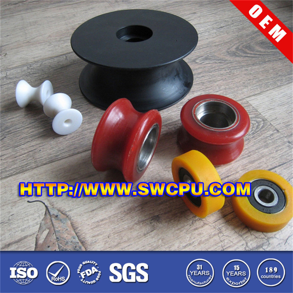 Injection moulding parts industrial smooth plastic pu wheel rollers