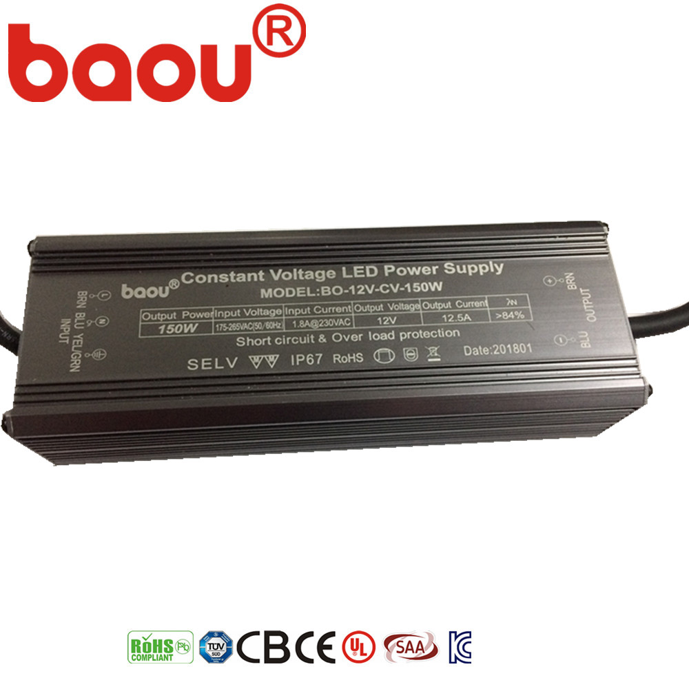 Baou DC12V/24V/36V/48V 150W IP67 led driver constant voltage waterproof Power Supply