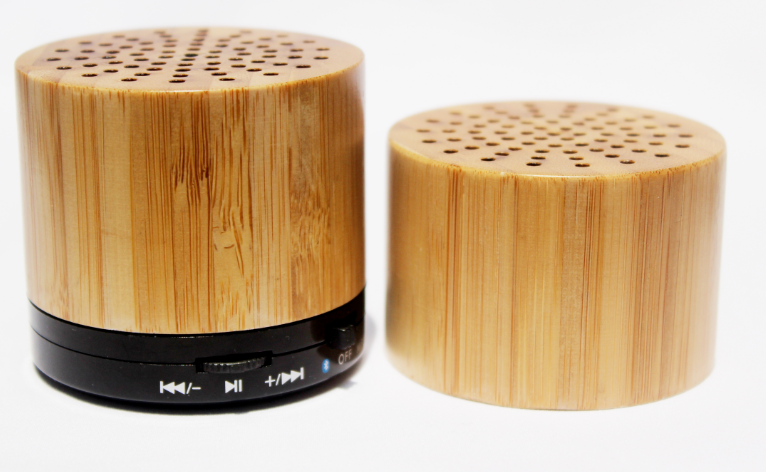 New Design High Quality 288 Mini Portable Wood Bamboo Wireless Bluetooth Speaker with LED Light